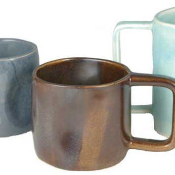 Blue Gray Ceramic Mugs, Basic Glazes