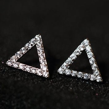 925 Silver Stylish Geometric Korean Accessory Earrings [8740040647]