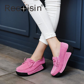 RECOISIN Spring Autumn Women Casual Shoes Suede Genuine Leather Platform Flats Tassel Wedge Slip-on Ladies Creepers Shoes A1319