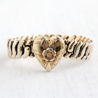 Vintage Floral Heart Expansion Sweetheart Bracelet - WWII 1940s Yellow Gold Filled Bracelet Signed Co-Star Jewelry / Flower Repousse