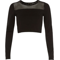 River Island Womens Black mesh panel long sleeve crop top