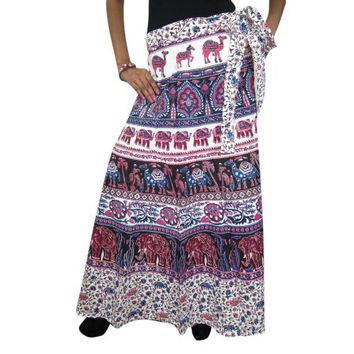 Mogul Women's Indian Long Wrap Around Skirt Cotton Animal Print Beach Cover Up - Walmart.com