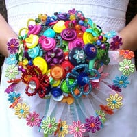 Over the Rainbow multicoloured button bouquet