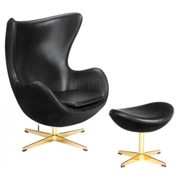 Reproduction of Arne Jacobsen's Golden Egg Chair 50th Anniversary & Ottoman | GFURN