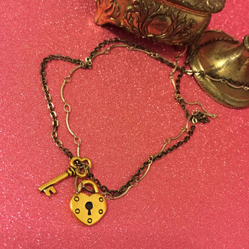Gold plated heart lock and key necklace