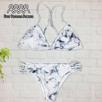 Brazilian Bikini Set Vintage Marble Printing Bikinis Swimsuit Padding Push Up Senxy Bandage Bathing Suit 2 Piece NK36