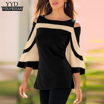 New Arrival 2018 Tshirt Women Cold Shoulder Long Sleeve Pullover Tops T-Shirt Women Ladies Tops Camisas mujer &1220