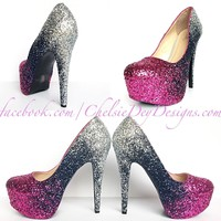 Pink Glitter High Heels, Navy Blue Silver Ombre Wedding Shoes, Platform Prom Pumps