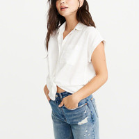 Womens Tie-Front Button-Up Shirt | Womens New Arrivals | Abercrombie.com