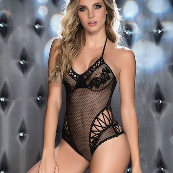 Sheer Floral Mesh Teddy