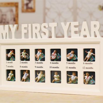 Kids 12x Picture Frame Wall Mural White home decor Creative Baby's First Year Picture Hanging Decorative Photo Frame DIY Gift