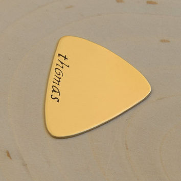 Triangular Bronze Guitar Pick with Personalized Name