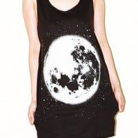 The Moon Charcoal Black Singlet Tank Top Universe T-Shirt Size M