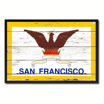 San Francisco City California State Flag Vintage Canvas Print with Black Picture Frame Home Decor Wall Art Collectible Decoration Artwork Gifts