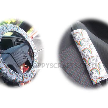 Unicorn and Rainbow cotton Car Steering wheel cover & matching seatbelt pad set