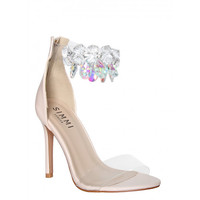 Bianca Nude Gem Transparent Heels : Simmi Shoes