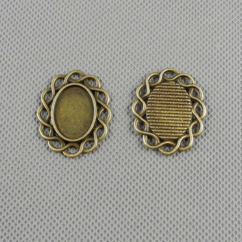 2x Pendant Necklace fabrication bijoux Jewelry Findings Charms Schmuckteile Charme 4-A3156 Oval Setting Cabochon Frame