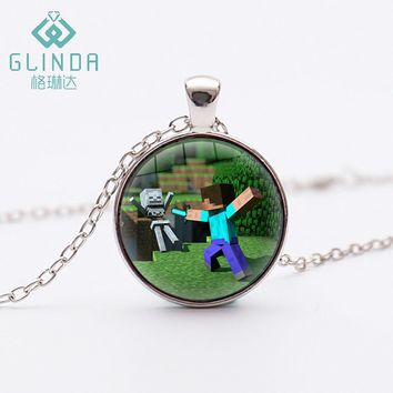 Glinda New Boys Girls Minecraft JJ My World Green Strange Coolie Face Pendant Black Necklace High quality Silver Plated pendants