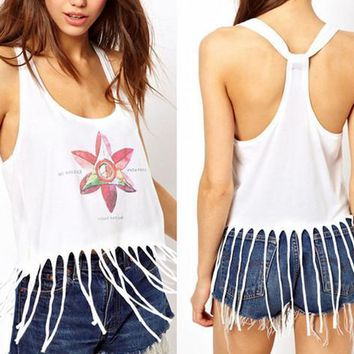 Hot Sale!!! 2016 Summer Fashion Women Tank Tops Floral Print Sleeveless T Shirt Sexy Low-Cut Tassle Fringe Crop Top Vest Blouse 2XL WY6942