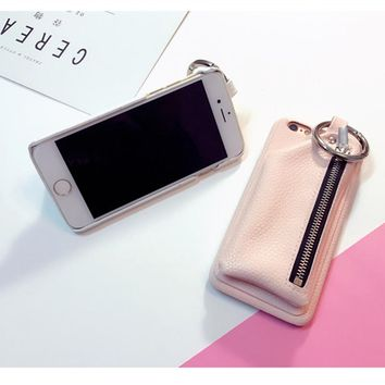 Phone Case with Leather wallet & Key Ring For iPhone 6s 6 Plus