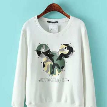 Camouflage Mickey Print Long Sleeve Sweater