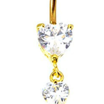 New 14 GA 11mm 3 Heart Rhinestone Goldtone Dangle Barbell 316L 5mm 8mm Balls Belly Button Naval Ring 683