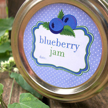 Blueberry Jam Canning Jar labels, 2 inch round stickers for fruit preservation, mason jar labels, wide mouth labels also available