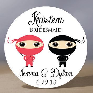 Personalized Pocket Mirror - Ninja Couple Bridesmaid 3.5 inch Pocket Mirror with Gift Bag - Weddings - Bridesmaid Gift