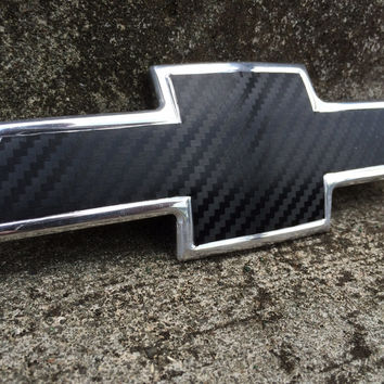 Carbon Fiber Vinyl Wrap for Chevy Bowtie Badge - 5 colors : Skin Overlay + Free Shipping!