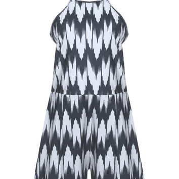 Black Abstract Printed Romper