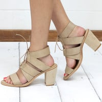 Very Volatile: Dim Lace Up Strappy Suede Heel Sandal {Natural}