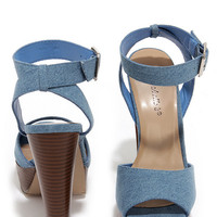 Casual Connoisseur Blue Denim Platform Heels