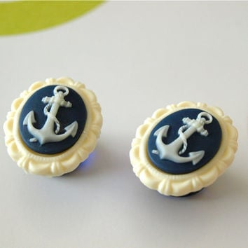 5/8 inch 16mm Plugs Anchor Nautical Navy Blue by Glamsquared
