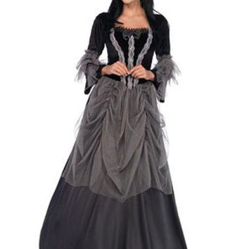 ESBI7E Velvet and satin victorian ball gown in BLACK/GREY