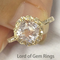 Cushion Morganite Engagement Ring Pave Diamond 14K Yellow Gold Vintage Floral Design 7mm