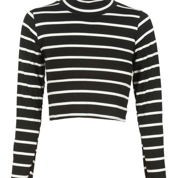 Black Striped Roll Neck Cropped Monochrome Top