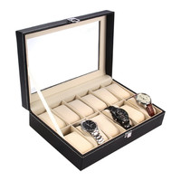 PuTwo Watch Box 10 Grid Wrist Watch Box Storage Jewellry Organizer