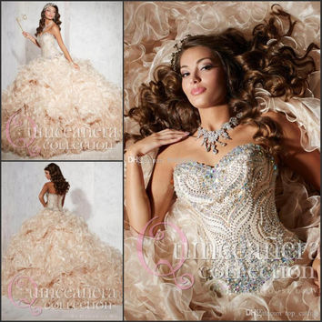 Quinceanera Dresses 2015 Champagne Prom Gowns Sweetheart Crystal Bead Ruffles Sparkling Rhinestone Prom Dress Ball Gown t62