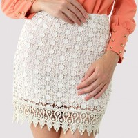 White Crochet Daisy Bud Skirt - New Arrivals - Retro, Indie and Unique Fashion