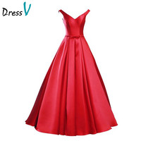 Dressv Elegant Red Matte Satin Long Prom Dress 2017 Simple A-Line V-Neck  Lace Up Bow Evening Party Gown Prom Dress