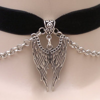 Large Double ANGEL WING Pendant With Chain BLACK 16mm Velvet Ribbon Choker - sc ... or choose another colour velvet, hand made to size :)