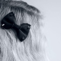 Black Hair Clip Bow With Spikes