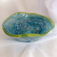 Hand Blown Glass Art Flutter Bowl