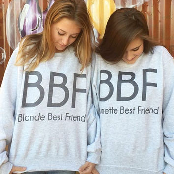 2016 Women Hoodies Brunette Best Friends BBF BFF Blonde Best Friend Print Harajuku Girlfriends Sweatshirt Women Pullovers