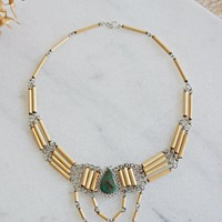 Vintage 1970s Bohemian + Turquoise Choker Necklace