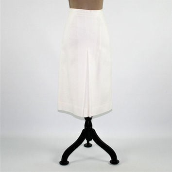70s White Skirt Women XS Small High Waist Skirt Midi Skirt 1970s Evan Picone Vintage Clothing Womens Clothing