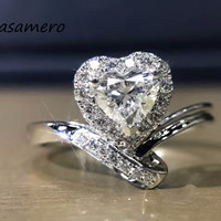 LASAMERO Ring For Women 0. 7ct Ring Heart Certified Natural Diamond Ring Accents 18k Gold Real Diamond Engagement Wedding Ring