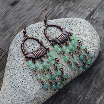 Chandelier Jade Earrings Beaded Earrings Gemstone Earrings Boho Earrings Long Dangle Earrings Long Hippie Earrings Boho Jewelry Ukrainian