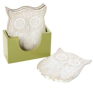 Set of 4 Wooden Owl Shaped Coasters (11cm x 8.5cm) - Matalan