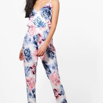 Laura Floral Wrap Front Jumpsuit | Boohoo